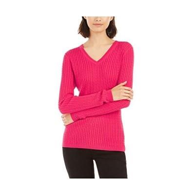 Tommy Hilfiger Womens Pink Long Sleeve V Neck T-Shirt Sweater Size XL並行輸入品