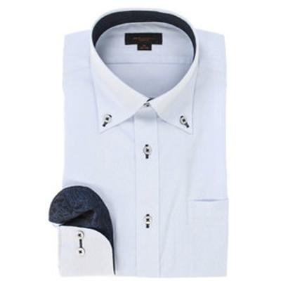 形態安定スリムフィット ボタンダウン張替長袖ビジネスドレスシャツ
