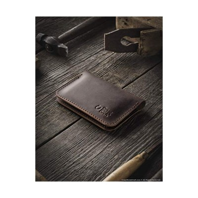 Leather wallet and credit card holder | Wood Brown handmade vintage style cardholder minimalist slim veg-tanned Crazy Horse Italian leather unique per