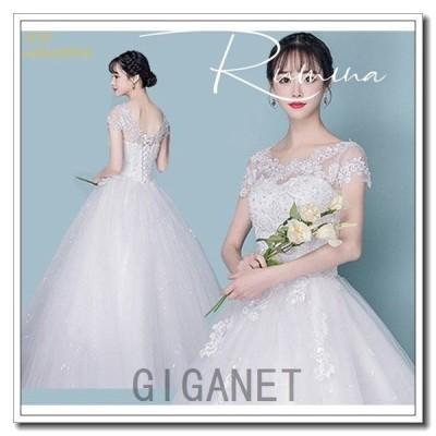 ウエディングドレスaライン白パーティードレスウェディングドレス結婚式マタニティブライダル袖あり花嫁レースハイウエスト二次会格安