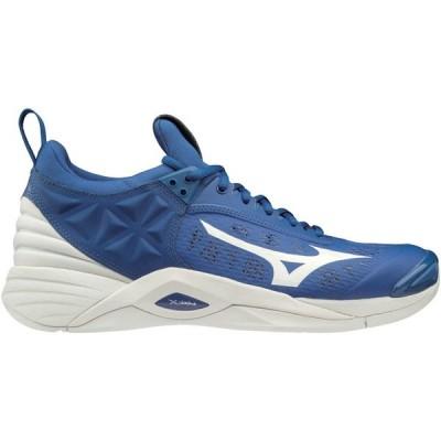 ミズノ シューズ メンズ テニス Mizuno Men's Wave Momentum Volleyball Shoes Blue/White