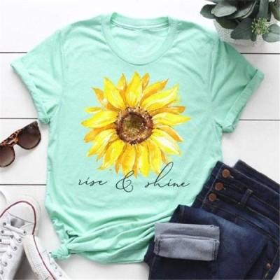 レディース 衣類 トップス Women Sunflower Printed Tee Short Sleeve T-shirt Casual Shirt Tops Summer T-shirt Tシャツ