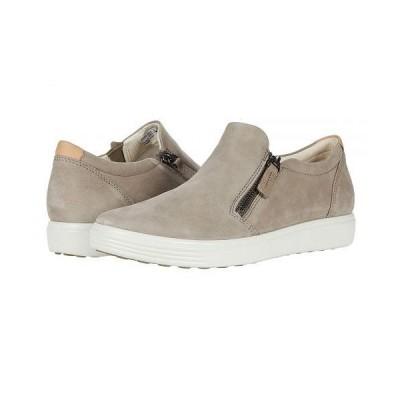 ECCO エコー レディース 女性用 シューズ 靴 スニーカー 運動靴 Soft 7 Side-Zip Sneaker - Warm Grey Cow Nubuck