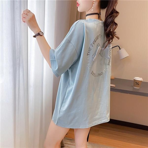 中大尺碼T恤寬鬆上衣K1512燙鉆刺繡寬松中長款短袖T恤女夏季INS上衣NE416韓衣裳