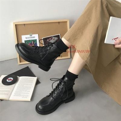 レディース ブーティー ショートブーツ 黒 編み上げ 太めヒール ローヒール オシャレ 女子靴