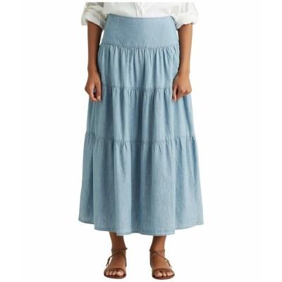ラルフローレン スカート ボトムス レディース Tiered Chambray Peasant Skirt Blue Lagoon Wash
