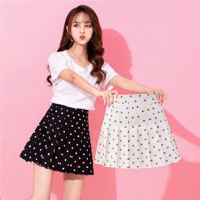 新作 スカート ミニスカート プリーツ ショット ハイウエスト Aライン 体型カバー ファッション 着痩せ ドット柄 大きいサイズ