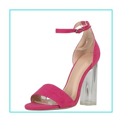 Wild Diva Womens Open Toe Transparent Clear Lucite Chunky Heel Ankle Strap Pump Sandals 7 Fuchsia【並行輸入品】