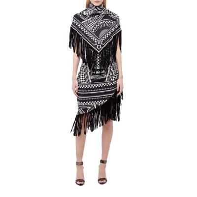 バルマン レディース ワンピース トップス Fringed Scarf-Trimmed Printed Dress
