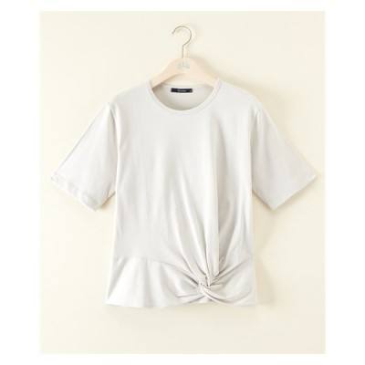 Tシャツ カットソー 大きいサイズ レディース 接触冷感 UV加工 綿100% フロントツイスト GIVORS 夏 4L ニッセン nissen
