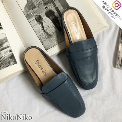 ShopNikoNiko スクエアローファーサンダル シンプル スクエア ローファー ミュール サンダル トレンド レディース 韓国ファッション 流行 Instagram ブルー 23.0cm レディース