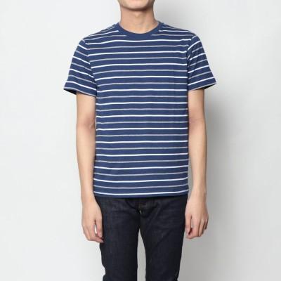 スタイルブロック STYLEBLOCK マルチボーダー柄クルーネック半袖Tシャツ (ネイビー)