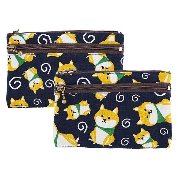 柴犬雙拉鍊中夾零錢包(1入)【小三美日】款式隨機出貨