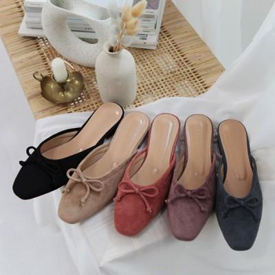 バブーシュ サンダル パンプス スエード レディース フラットシューズ リボン ぺたんこ 婦人靴 歩きやすい サンダル ブラック ピンク ベージュ