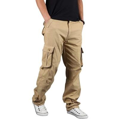 billy カーゴパンツ メンズ 綿 カジュアル ゆったり 大きいサイズ 多機能 ロングパンツ 作業着 6ポケット khaki 30