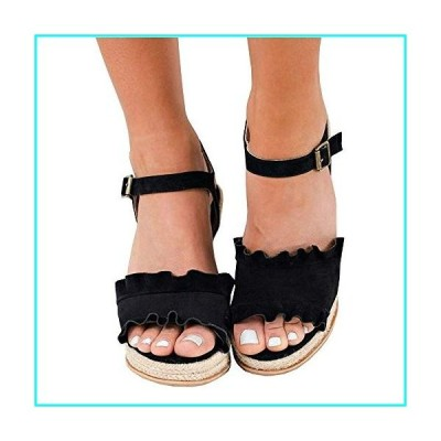 LAICIGO Women's Espadrille Wedges Sandals Peep Toe Buckle Adjustable High Platform Ankle Strap Summer Shoes