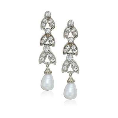 Ben-Amun Jewelry Marquise Crystal Pearl Drop Post Earrings for Bridal