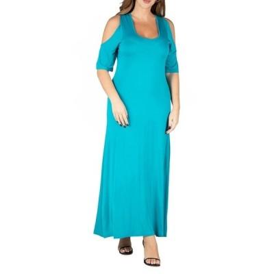 24セブンコンフォート ワンピース トップス レディース Women's Plus Size Cold Shoulder Maxi Dress Jade