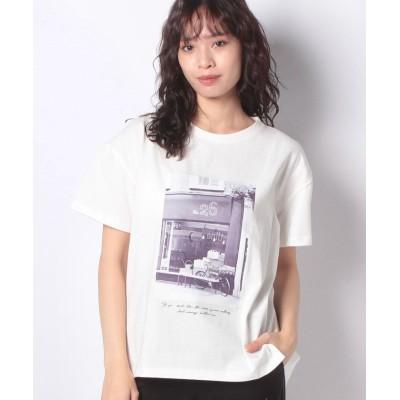 【インタープラネット】 コットンフォトプリントTシャツ レディース オフホワイト 002 INTERPLANET