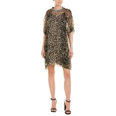 アナスイ ワンピース トップス レディース Anna Sui Leopard Silk Shift Dress ivory multicolor