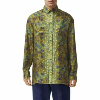 バーバリー BURBERRY メンズ シャツ トップス Fish Scale Relaxed Fit Silk Button-Down Shirt Olive Ip Ptn