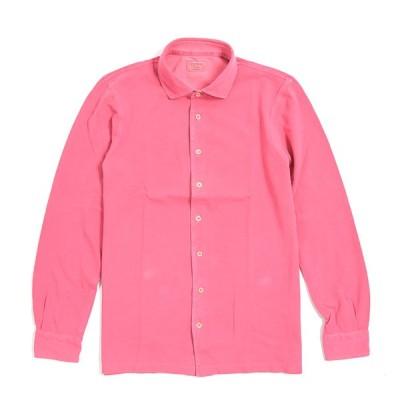 Gran Sasso グランサッソ シャツ ショートポイントカラー 長袖 メンズ 春夏 コットン 100% 無地 ピンク