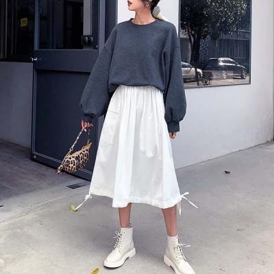 大きいサイズ有 カーゴバルーンスカート レディース ボトムス スカート ミモレ ロング フレアー ウエストゴム ホワイト透け感有 おすすめ 裾りぼん