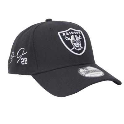 ジョッシュ・ジェイコブス キャップ/帽子 NFL レイダース サイン刺繍 ニューエラ アジャスタブル 9FORTY NewEra ブラック