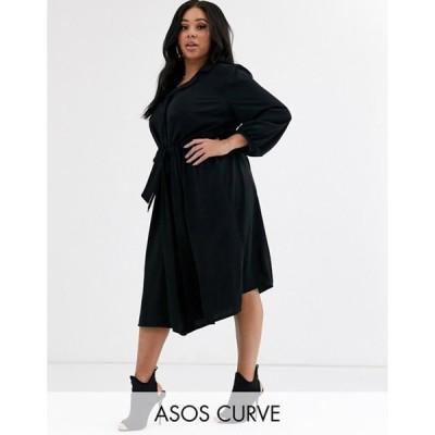 エイソス レディース ワンピース トップス ASOS DESIGN Curve button through midi shirt dress with ruched waist in black