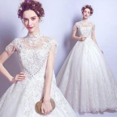 ウェディングドレス レースドレス ブライダルドレス フォーマルドレス ウェディングドレス 後ろ大きいリボン 大きいサイズ ホワイト