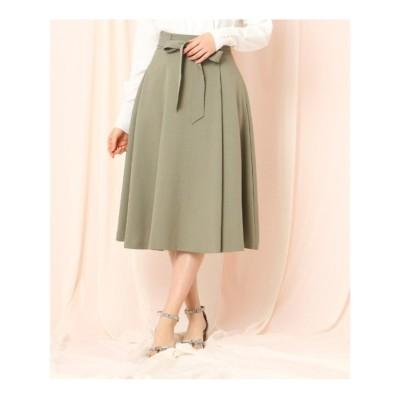 クチュール ブローチ Couture brooch 【WEB限定(LL)サイズあり/洗える】ベルテッドフレアリネンライクミモレスカート (オリーブグリーン)
