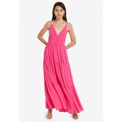 ドレッシング パウラ Dressing Paula レディース パーティードレス ティアードドレス ワンピース・ドレス Tiered Chiffon Maxi Dress Pink