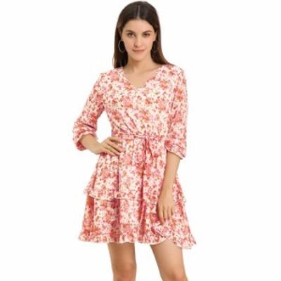 Allegra K aライン花柄ワンピース ドレス Vネック 長袖 ウエストゴム フリル裾 カジュアル レディース ピンク XS