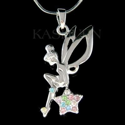 ネックレス インポート スワロフスキ クリスタル ジュエリー ~Rainbow Tinkerbell Star~ made with Swarovski Crystal ANGEL Wing Fairy Necklace