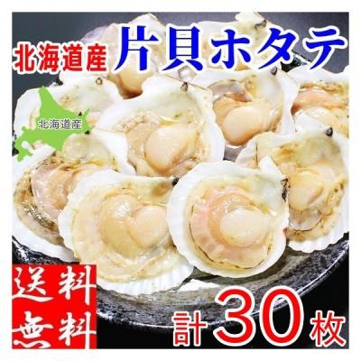ホタテ 殻付き 片貝 計30枚 北海道産 BBQ 網焼き 冷凍 お取り寄せ 帆立 ほたて