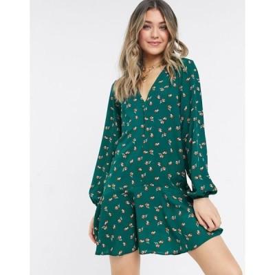 エイソス レディース ワンピース トップス ASOS DESIGN long sleeve v neck mini dress with curved hem in green floral Green based floral