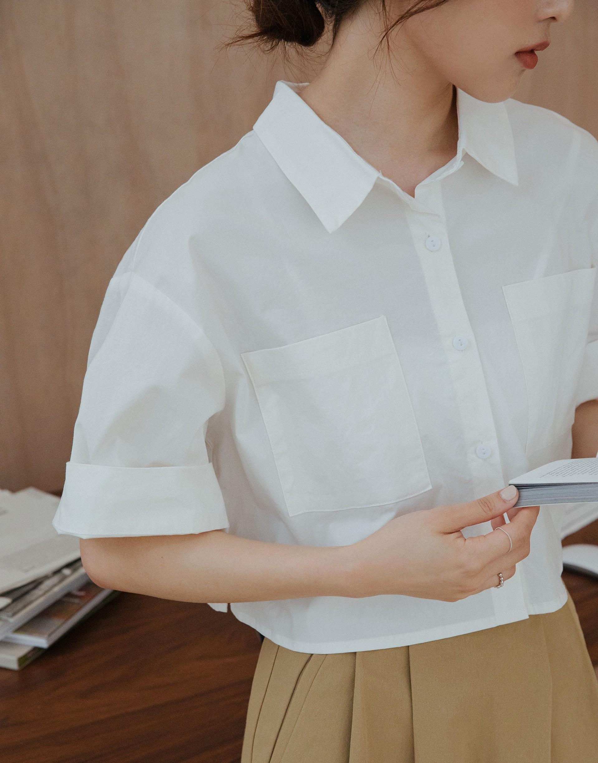 BUTTER奶油質感袖反摺短版襯衫-PAZZO