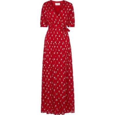 バッシュ BA&SH レディース ワンピース ラップドレス マキシ丈 ワンピース・ドレス madona fil coupe silk-blend gauze maxi wrap dress Red