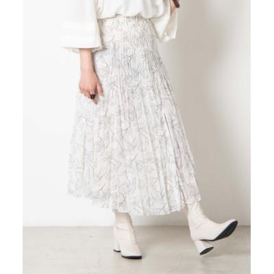 【ウィゴー】 アンニュイフラワープリーツスカート レディース ホワイト F WEGO