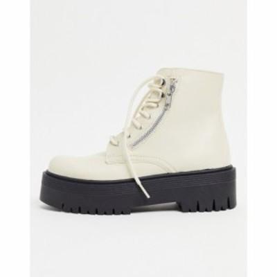 トップショップ Topshop レディース ブーツ チャンキーヒール シューズ・靴 Zip Detail Chunky Boots In Off White ホワイト