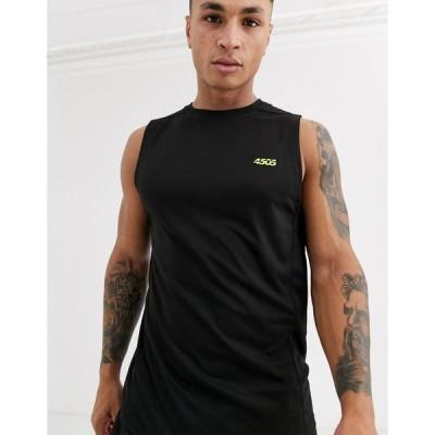エイソス タンクトップ ノースリーブ アームホール メンズ ASOS 4505 icon training sleeveless t-shirt with quick dry in black エイソス ASOS ブラック 黒