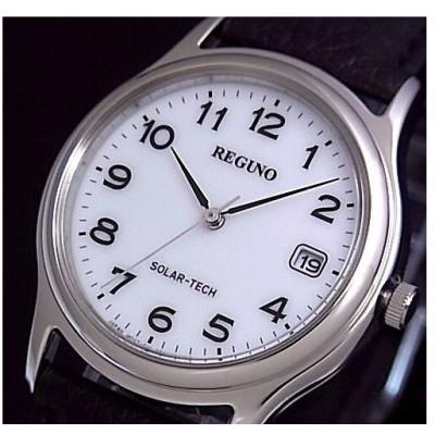 CITIZEN REGUNO シチズン レグノ メンズ腕時計 ソーラー ホワイト文字盤 ブラックレザーベルト RS25-0033B 国内正規品