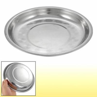 uxcell ステンレス丸皿 ディナープレート ステンレス鋼製 ラウンドデザイン 19.5x2.3cm