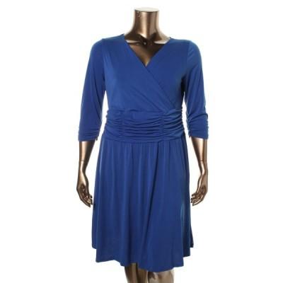 ドレス ワンピース NY Collection NY コレクション 4989 レディース Matte Jersey Ruched Surplice Party ドレス Plus BHFO