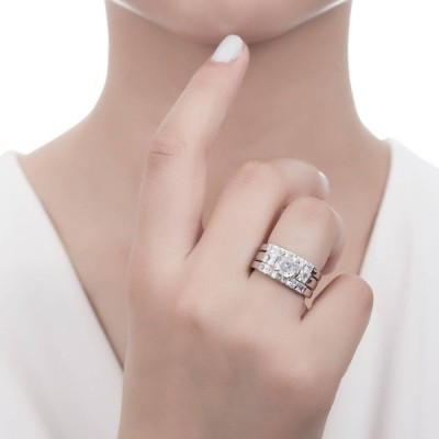 BERRICLE Rhodium Plated Sterling Silver Cubic Zirconia CZ 3-Stone 5-St