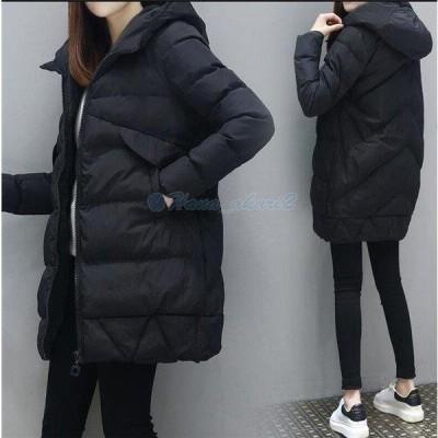 中綿ジャケット レディース ロング フード付き ブルゾン 厚手 中綿コート ゆったり ダウンジャケット アウター 冬 防寒 ダウンコート 2019 20代 30代 40代