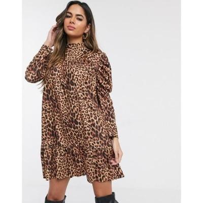 ミスガイデッド レディース ワンピース トップス Missguided smock dress in leopard Leopard