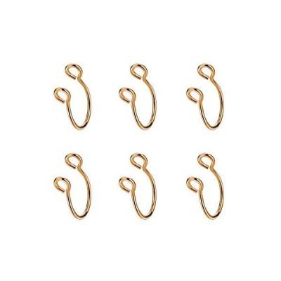 JOFUKIN 6pcs Rose Gold Plated Stainless Steel Fake Septum Nose Rings Flexib