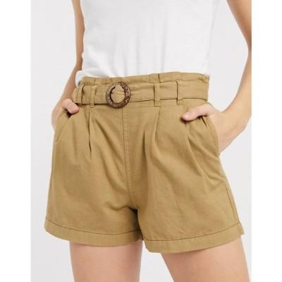 オンリー Only レディース ショートパンツ ボトムス・パンツ shorts with belt in tan タン