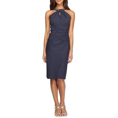 アレックスイブニングス レディース ワンピース トップス Embellished Halter Sheath Dress Charcoal